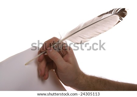 Hand writting with feather isolated on white background