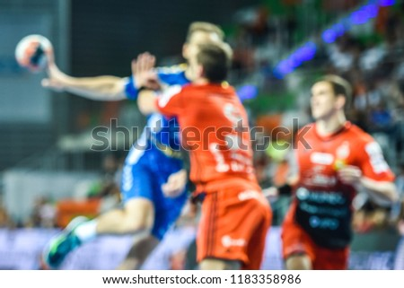 Handball match - intentional blur. #1183358986