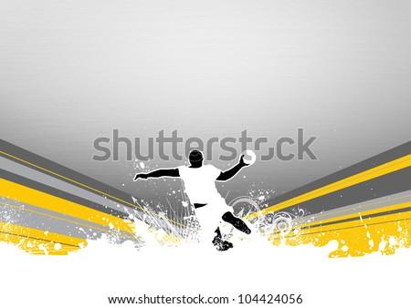 Handball shot background with space (poster, web, leaflet, magazine)