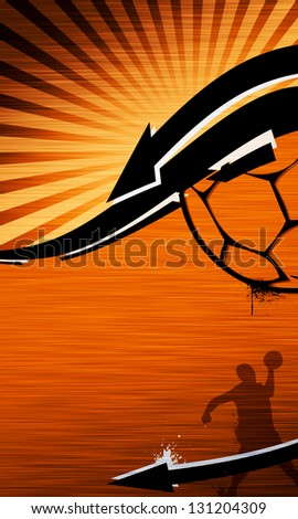 Handball shot sport poster or flyer background with space