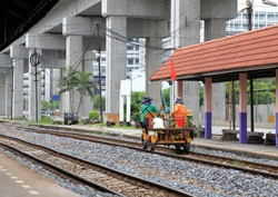 Handcar or Railway inspection vehicle or motor cart for inspection maintenance of railway on service.