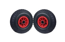 Handcart wheels on white isolated