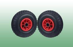 Handcart wheels with green texture