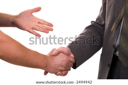 handclasp. two mens hands isolated on white background