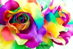 handcraft colorful rainbow rose as handicraft flower