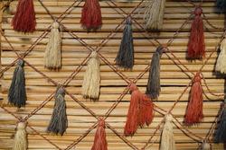 Handcraft of Saudi Arabia, traditional crafts, handmade. Handcraft decoration hanging on the old wooden in Riyadh, Saudi Arabia
