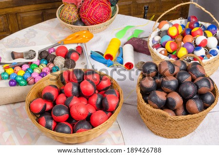 Handcrafted balls as used for traditional Spanish sports