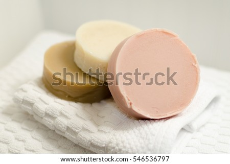 Handcrafted Natural Cold Process Shaving Soap Bars, Displayed with Folded White Washcloth and Bath towel