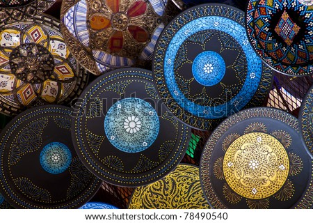 Handcrafts shot at the market in Morocco - stock photo