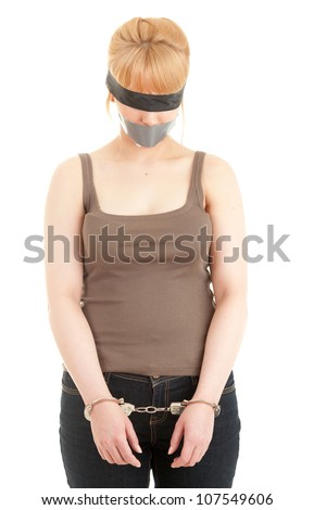 handcuffed kidnapped young woman, hostage, on the white background