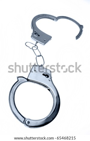 Handcuffs isolated on plain background