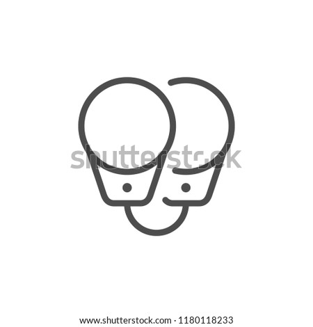 Handcuffs line icon isolated on white