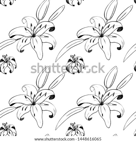 Handdraw monochrom seamless pattern with Lily flowers. Pencil drawing monochrome elegant flower in vintage style.