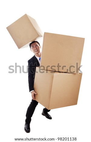 Handful businessman carrying heavy boxes isolated on white