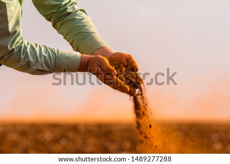 Handful of arable soil in hands of responsible farmer, close up, selective focus #1489277288