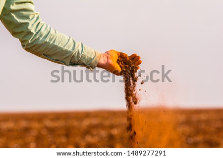 Handful of arable soil in hands of responsible farmer, close up, selective focus #1489277291