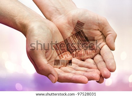 Handful of bar codes in man's palms