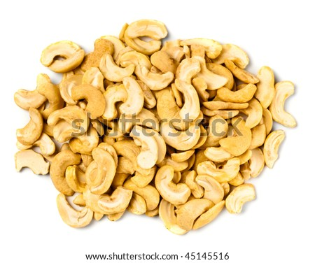 handful of cashew nuts on white background