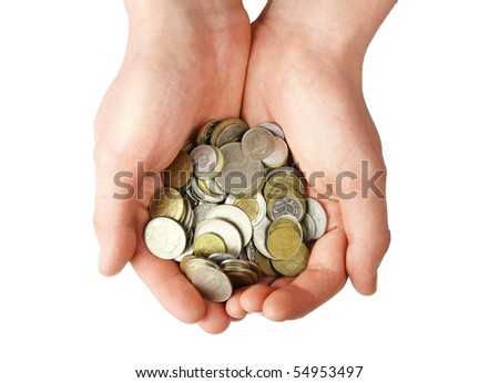 Handful of coins, isolated on white