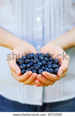 Handful of fresh organic blueberries