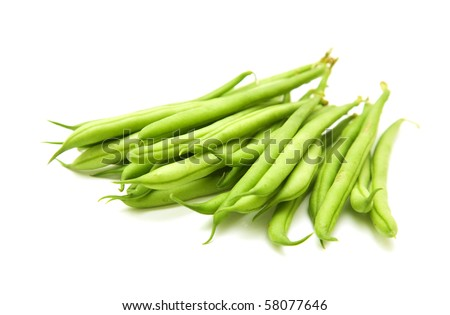 handful of green beans isolated on white background;