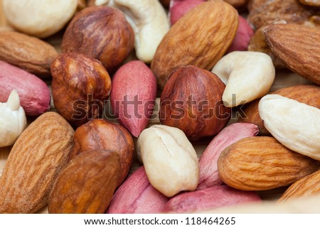 Handful of groundnuts and hazelnuts