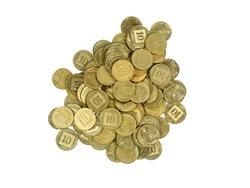 handful of Israeli coins isolated on white background. 10 agorot, israeli finance