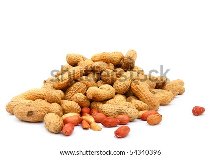 Handful of peanuts on a white background, isolated - stock photo