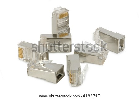 Handful of RJ-45 connectors, used on computer network cables. Isolated on white. Clipping path included.