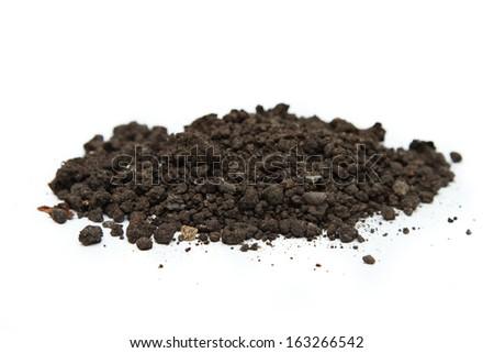 Handful of soil on white