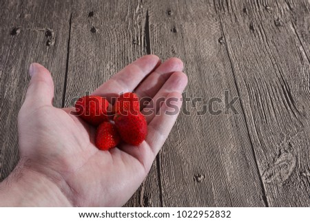Handful of Strawberries. Hand with strawberry #1022952832