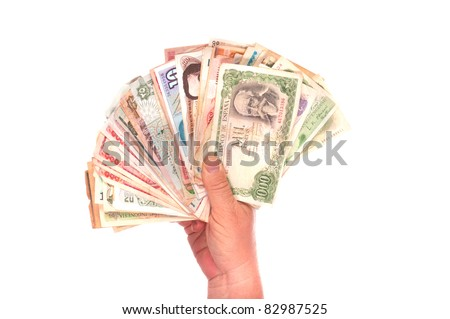 handful of various countries old currencies