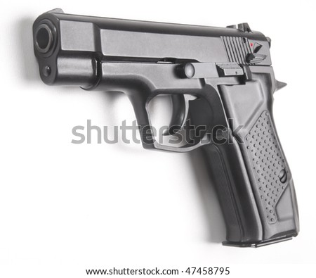 handgun close up isolated on white background