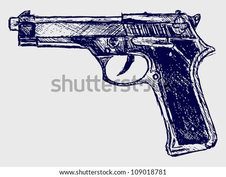 Handgun close-up. Raster