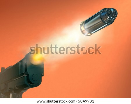 Handgun firing a bullet. Digital illustration.