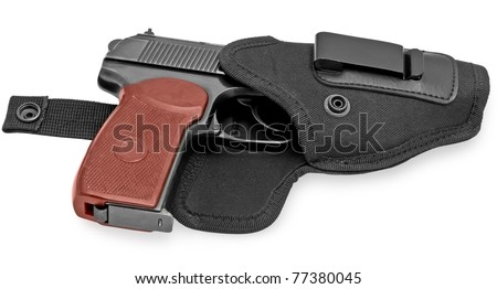 Handgun in a holster isolated on a white background