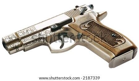 handgun on white backgro