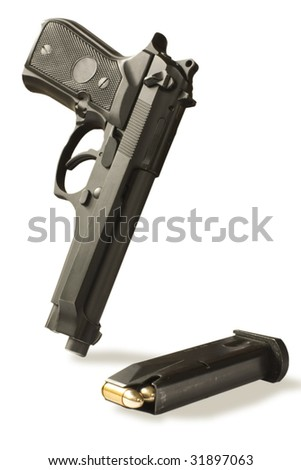 handgun semi-autos and magazine caliber 9mm isolated on white.clipping path inside