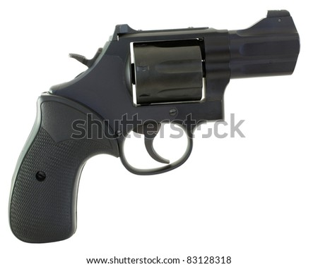 handgun that is a black revolver isolated on a white background