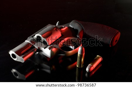 handgun with white light to the left and red coming from the right