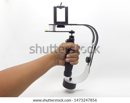 Handheld Silver Metallic Modern Practical Gimbal Stabilizer for Videographer and Photography Used in White Isolated Background