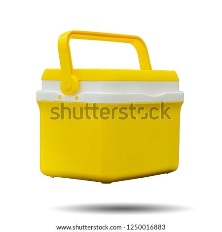 Handheld yellow refrigerator isolated over white background. This has clipping path.