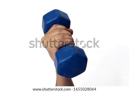 Handhold a blue dumbbell isolated on a white background. Object with clipping path.