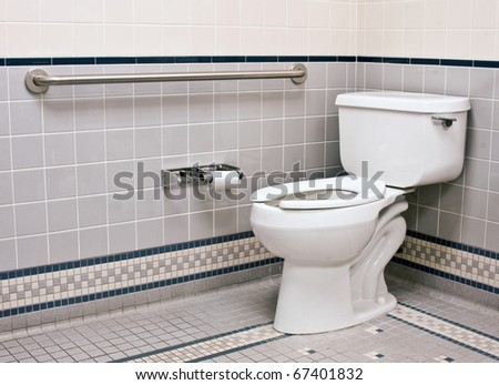 Grab Bars  Bathroom on Handicap Bathroom With Grab Bars And Ceramic Tile Stock Photo 67401832