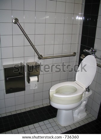 Handicap Bathroom With Toilet And Raised Seat And Support Bars Stock Photo 73