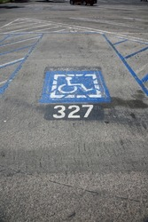 Handicap Parking Space. Handicap parking space with space number to pay for parking.