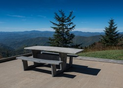 Handicapped Picnic Table at wayside on the Blue Ridge Parkway