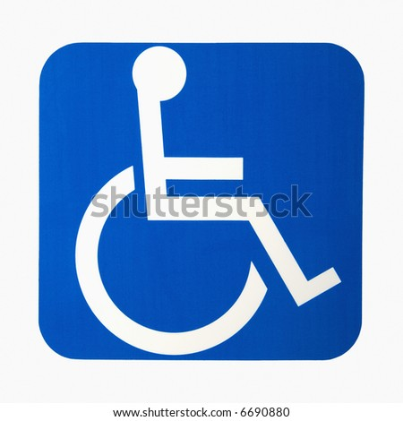 Handicapped wheelchair access logo sign.