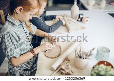handicraft industry. handicraft technique, close up side view photo. copy space. copy space #1253206369
