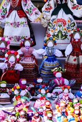 handicraft Ukrainian ethnic dolls. Traditional oriental doll.